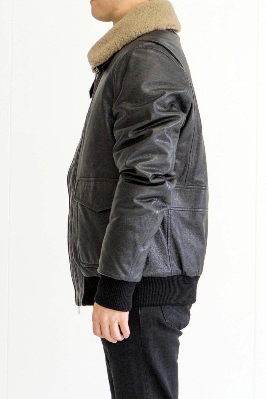 [:en]Sheep Skin Bomber Jacket With Shealing Collar[:ja]シープジャケット[:]