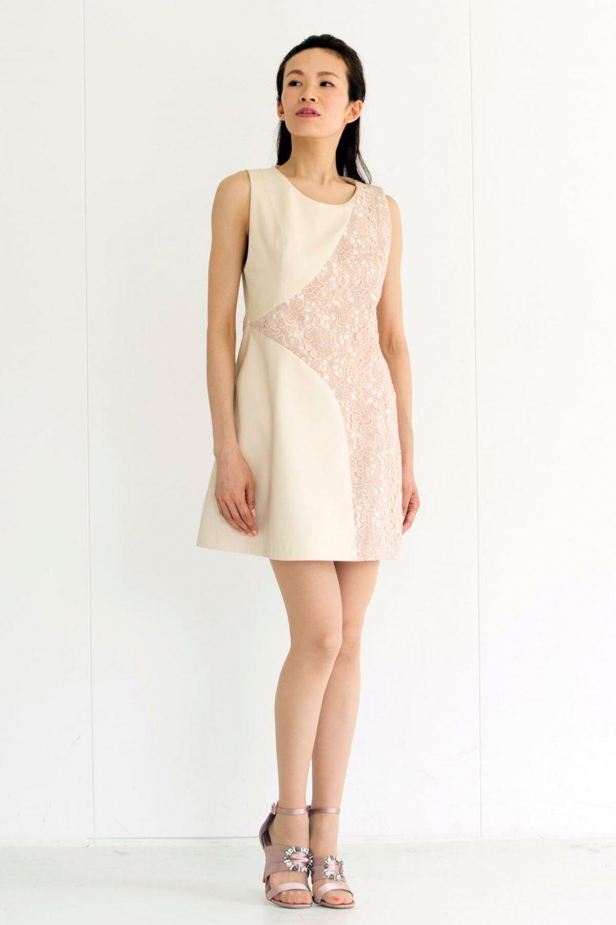 [:en]Spanish Lambskin & Cotton Lace Dress[:ja]スパニッシュラム・コットンレース・ワンピース[:]