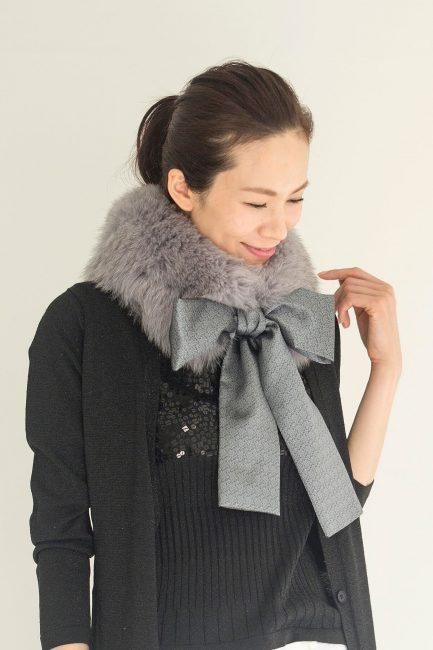 [:en]Fox and Hakata Weave Duo Material Scarl[:ja]フォックス博多織マフラー[:]