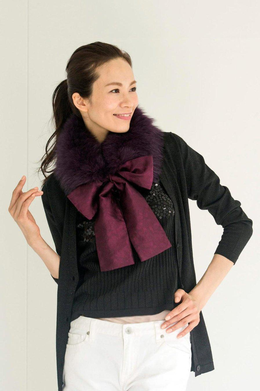 [:en]Fox and Hakata Weave Duo Material Scarl[:ja]フォックス博多織マフラー[:]